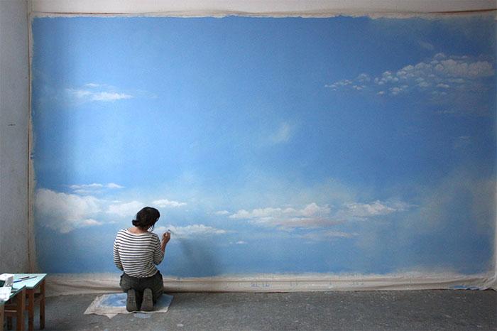 Wandbespannung, atelier wandlungen, himmel, malerei, kunst, art