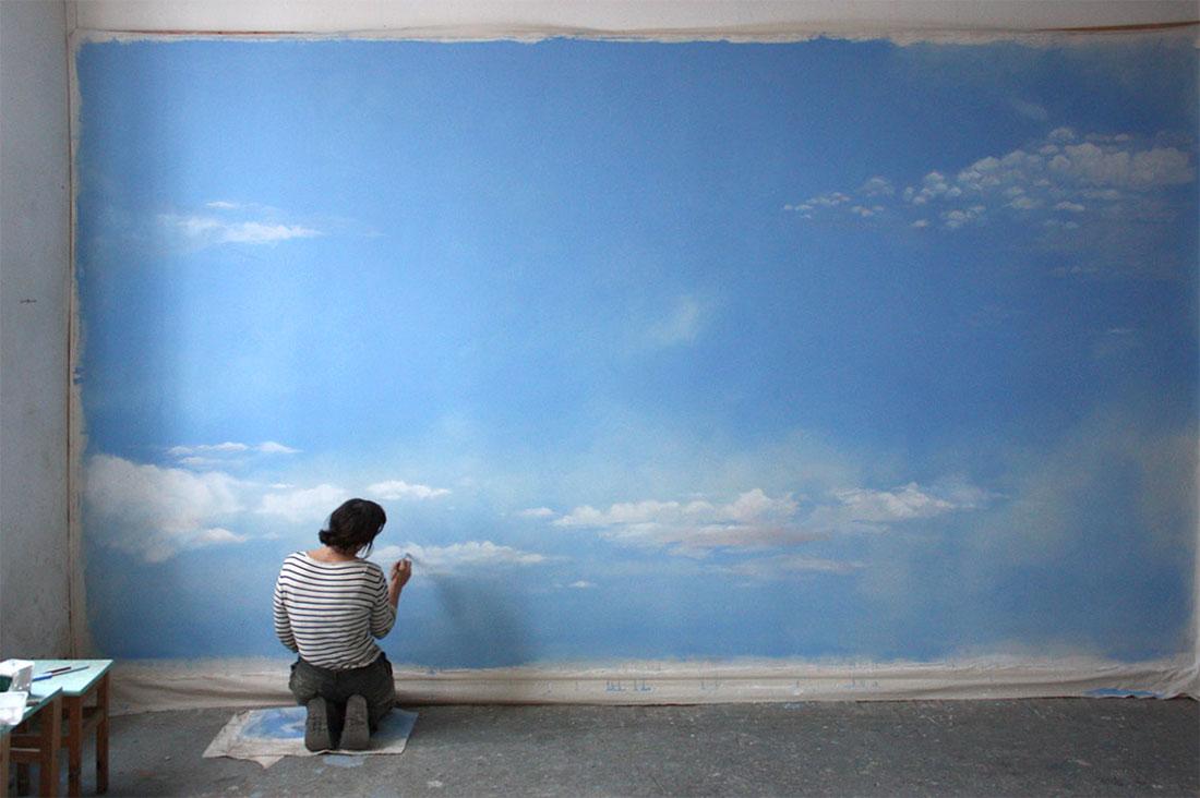 Wandbespannung wallpainting himmel sky Atelier Wandlungen
