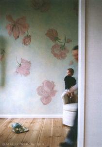 Wandmalerei, Wallpainting, rosen, atelier wandlungen, inka gierden, deko