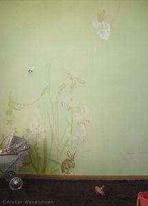Kinderzimmer Wandmalerei Märchen deko idee baby