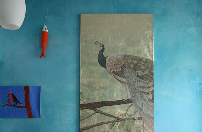Bild, atelier wandlungen, pfau, gold