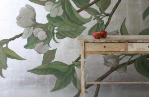wandbespannung versilberung apfel zweig malerei decoration atelier wandlungen