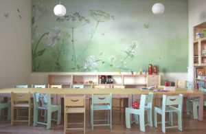 wandbespannung, kindergarten, kinder, dekoration, malerei, wandmalerei