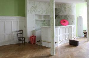 wandmalerei, muster, gruen, wohnzimmer, altbau, decoration