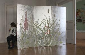Wandmalerei silber decoration paravent Atelier Wandlungen