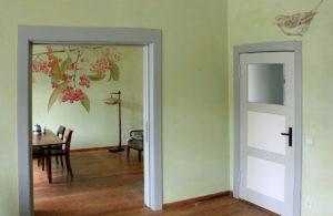 wandmalerei, pflanzen, spatz, gruen, decoration, wohnzimmer, landleben