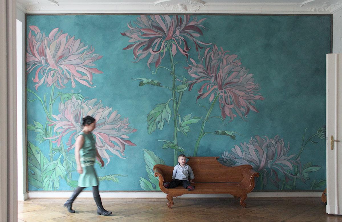 wandbespannung, atelier wandlungen, blumen, wandmalerei, wallpainting, handcrafted, decoration