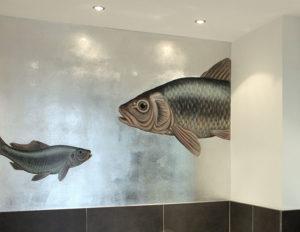 Badezimmergestaltung, wandmalerei, Versilbern, Fischmalerei, Atelierwandlungen