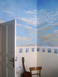 himmelmalerei, wandmalerei,atelier wandlungen, küche, wolken, blau berlin