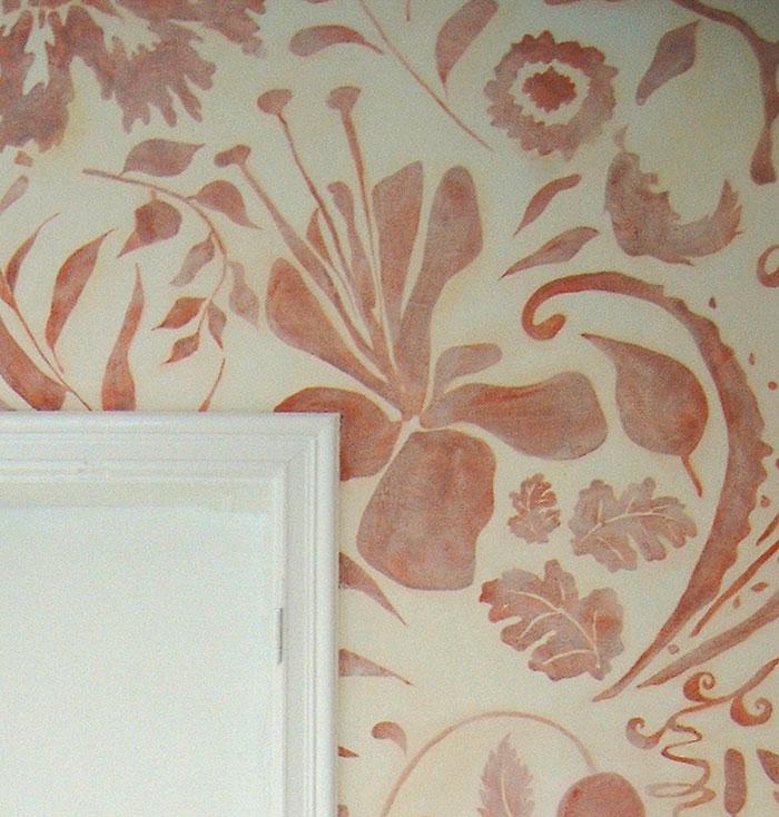 grafisches ornament rot deko farbe wandmalerei wallpainting