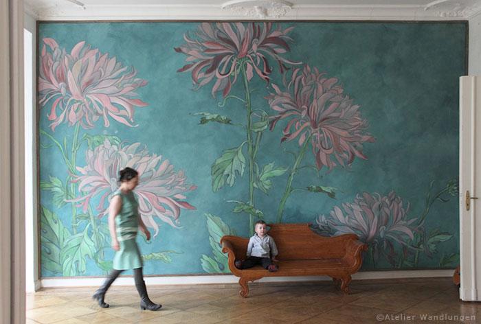 atelier wandlungen,Wandbespannung wohndesign leinwand malerei wandbild deko