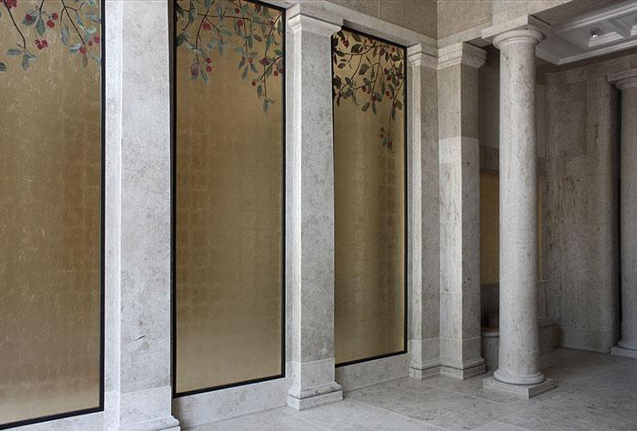 Wandvergoldung, atelier wandlungen, vestibül, gold, art, kunst
