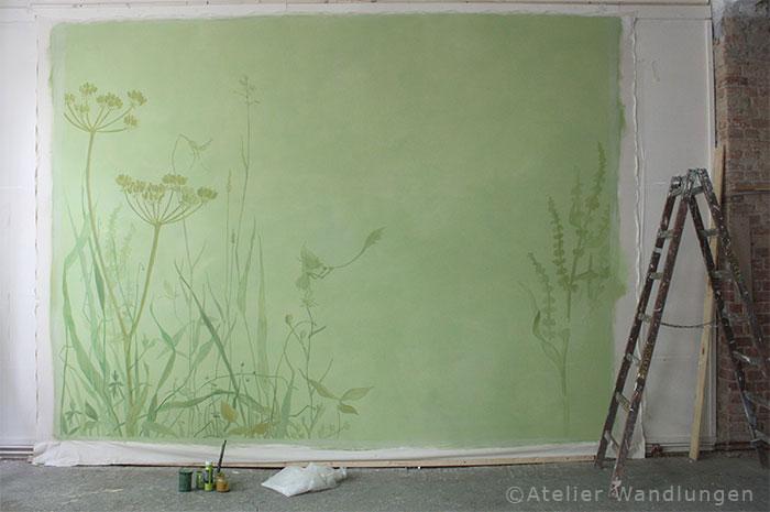 wandbespannung, atelier wandlungen berlin, Kinderzimmer, dekoration, malerei, wiese, hase