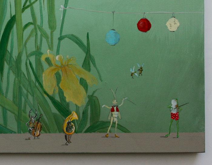Kinderbild mit Wasserlilien, Frosch und Insekten